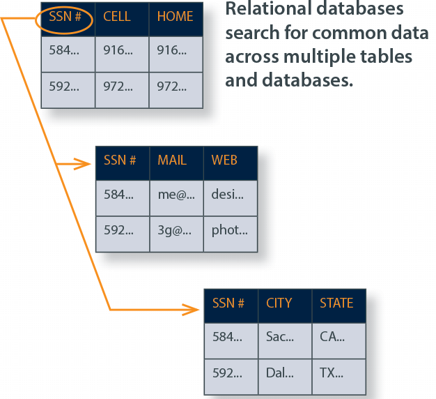 Relational databases search for common data across multiple tables and databases