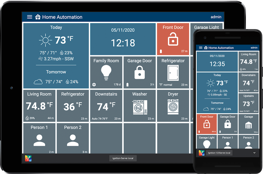 Mobile devices running Ignition-build home automation dashboards